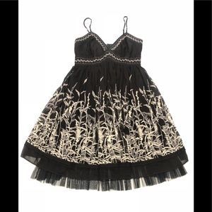 💃 BCBGMaxazria Silk black flower dress 4